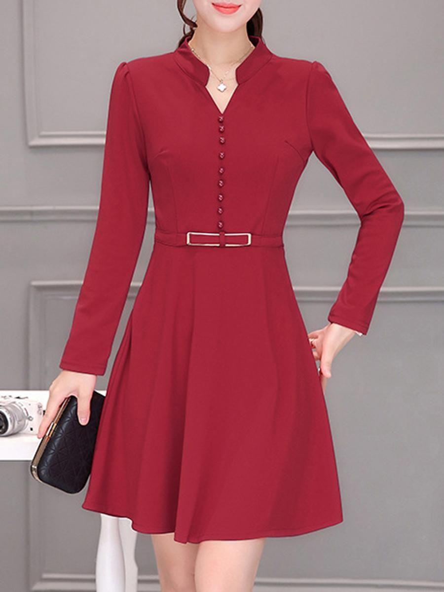 BerryLook -  berrylook Split Neck Solid Long Sleeve Skater Dress -  AdoreWe.com 39ad491dd