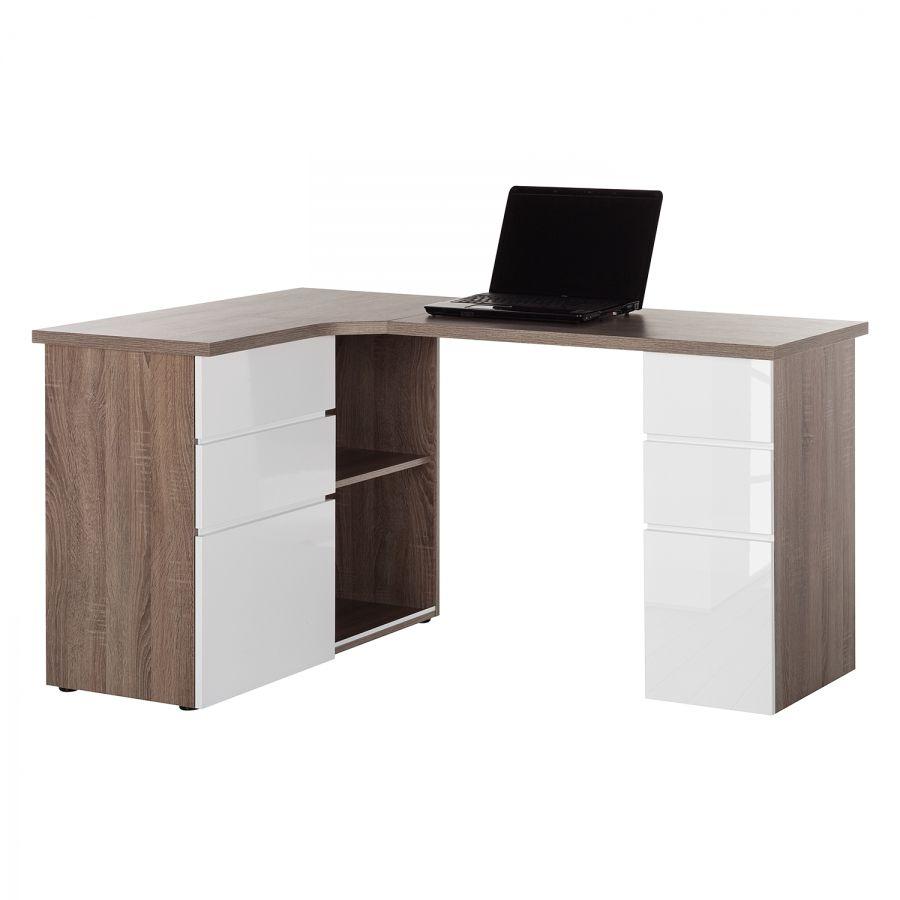 Eck Schreibtisch Samiera I Eckschreibtisch Schreibtisch Weiss Hochglanz Schreibtisch