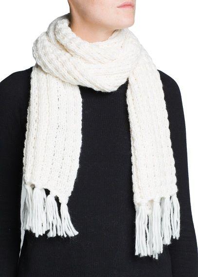 Metallic detail knit scarf