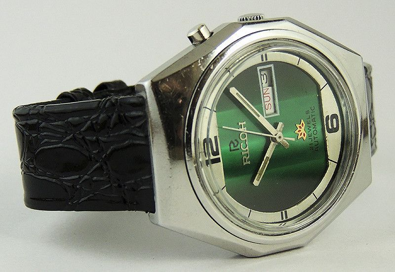 Vintage Ricoh Automatic Day Dater Octagonal Dial Watch 21 Jewels Made in Japan | eBay