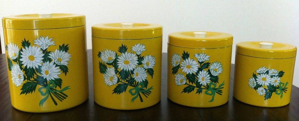 awesome Vintage Canister Sets Ebay Part - 19: Lord Taylor Vintage Kitchen Canister Set 4 Japan Daisy Yellow Mustard | eBay