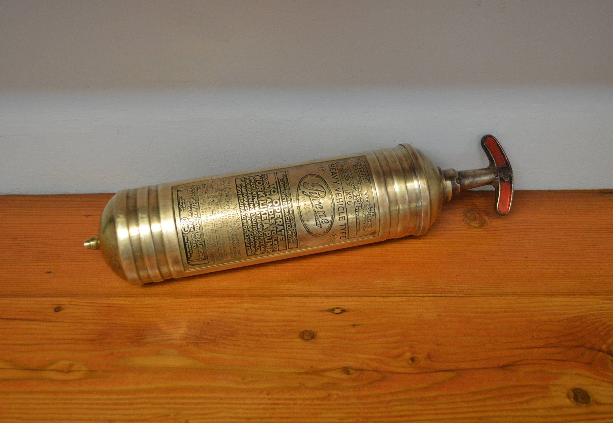 Vintage fire extinguisher brass Pyrene Heavy Vehicle Type