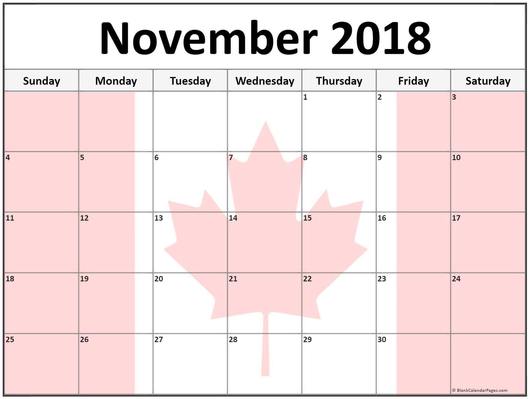 november 2018 calendar canada calendar canada november