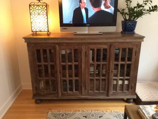 Unique Glass Door Console/media Cabinet U2014
