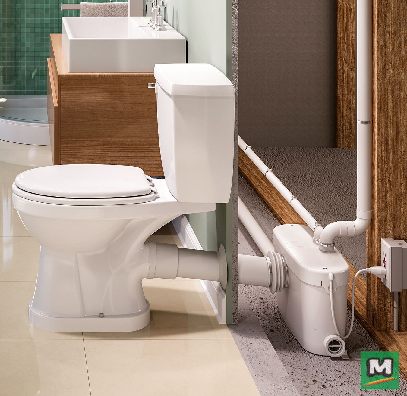Install A Basement Bathroom Without The Need To Break Concrete The Sanipro Macer Basement Bathroom Remodeling Basement Bathroom Design Small Basement Bathroom