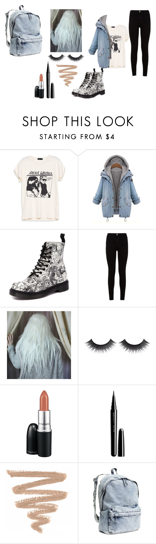 """""""Без названия #41"""" by stupideh ❤ liked on Polyvore featuring Amaya, Dr. Martens, 7 For All Mankind, MAC Cosmetics, Marc Jacobs and H&M"""