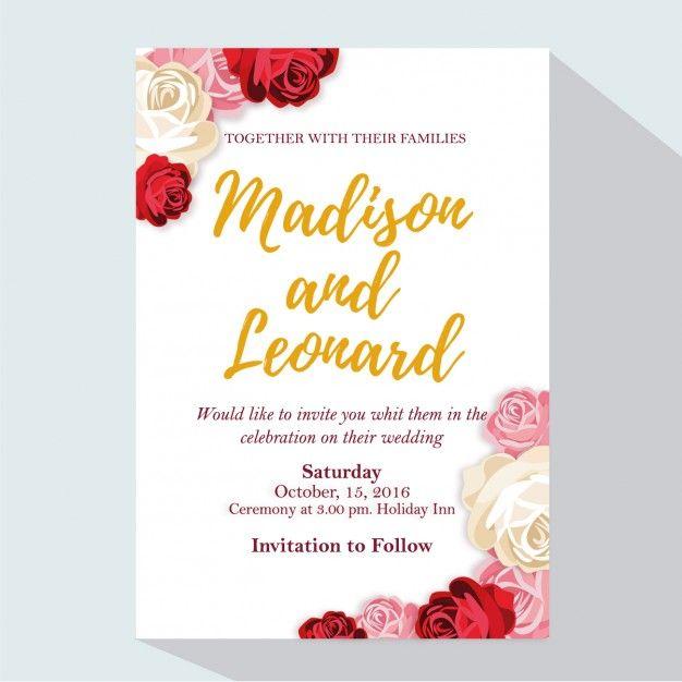 Invitacin de boda con rosas vector gratis ideas pinterest wedding invitation with roses free vector stopboris Image collections