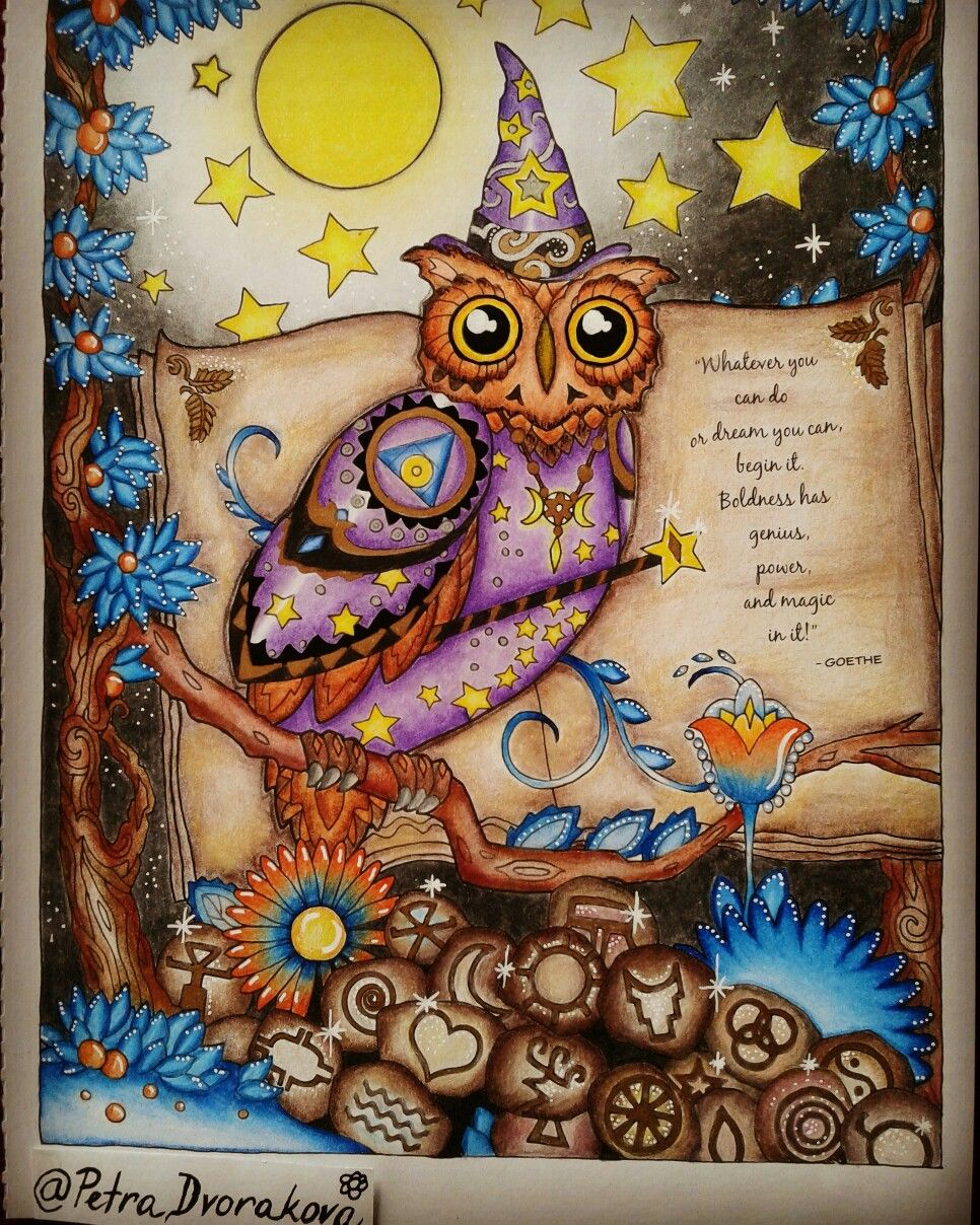 This Magical Owl Is From Creative Haven Owls Coloring Book I Used Prismacolor Premier Colored Pencils Together With Silver An Coloring Books Gold Sharpie Owl