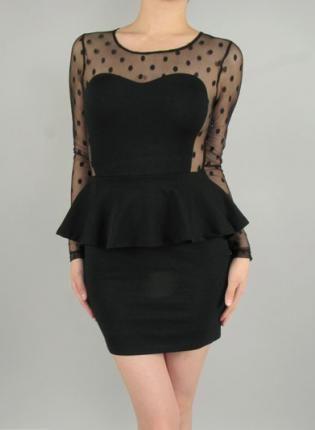 Black Long Sleeve Peplum Dress With Polka Dot Mesh Insert Dress