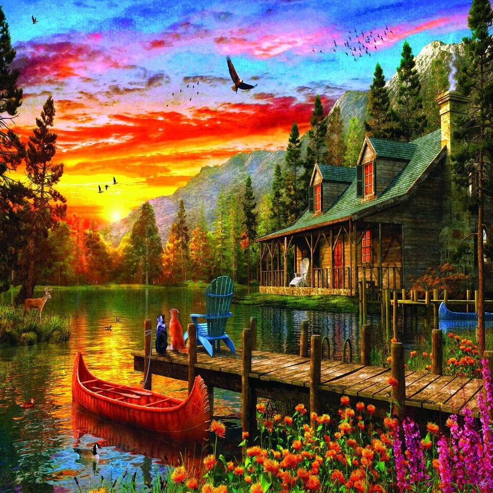Cabin Evening Sunset 1000 Piece Jigsaw Puzzle In 2021 Evening Sunset Jigsaw Puzzles Scenery