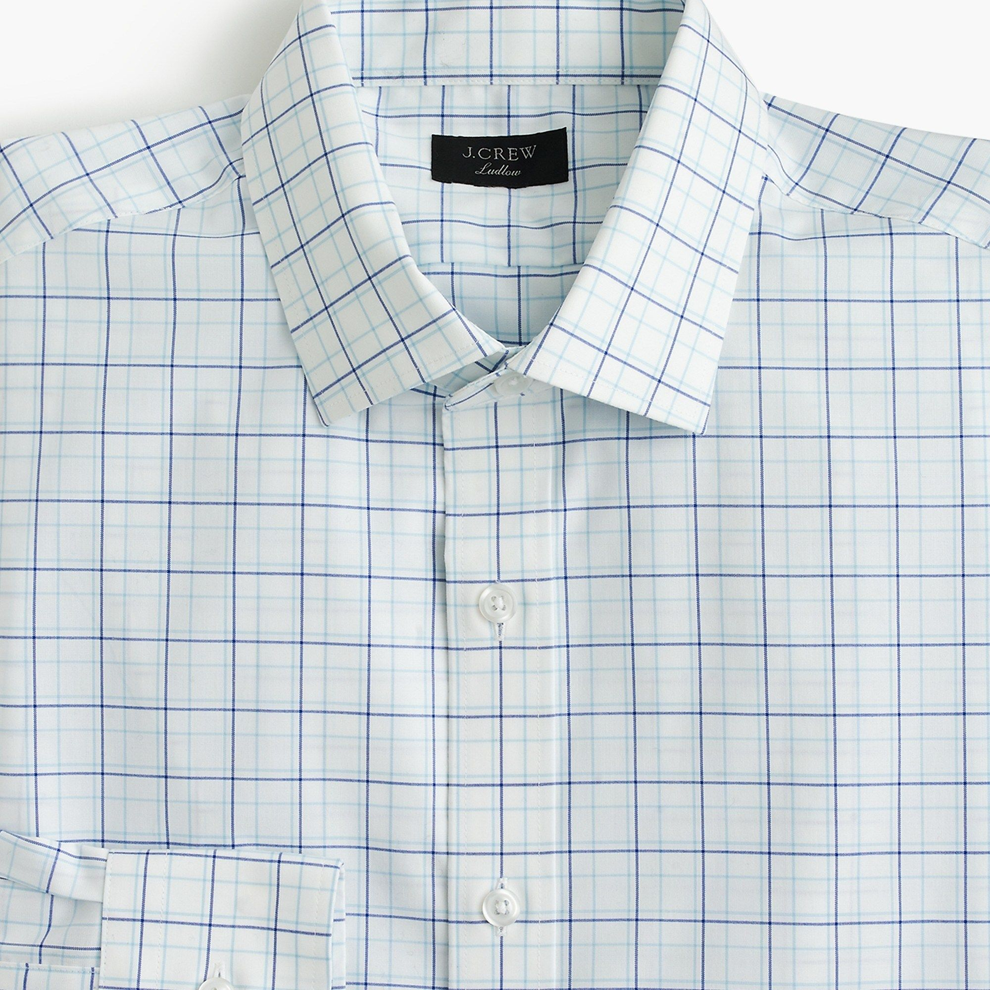 5ebb9e6a3fc5 J.Crew - Ludlow stretch two-ply easy-care cotton dress shirt in blue  tattersall