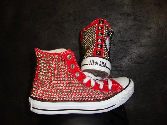 2289f80e5b99 Studded Spike Converse High Top ONE SIDED SHOES by CustomStudded I would  soooo wear these!!!