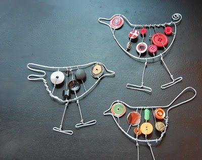 oiseau en metal printemps loisirs cr atifs enfant pinterest fil de fer petit bouton et fil. Black Bedroom Furniture Sets. Home Design Ideas