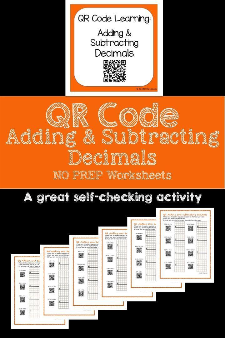 Qr Code Adding And Subtracting Decimals Worksheets Qr Codes