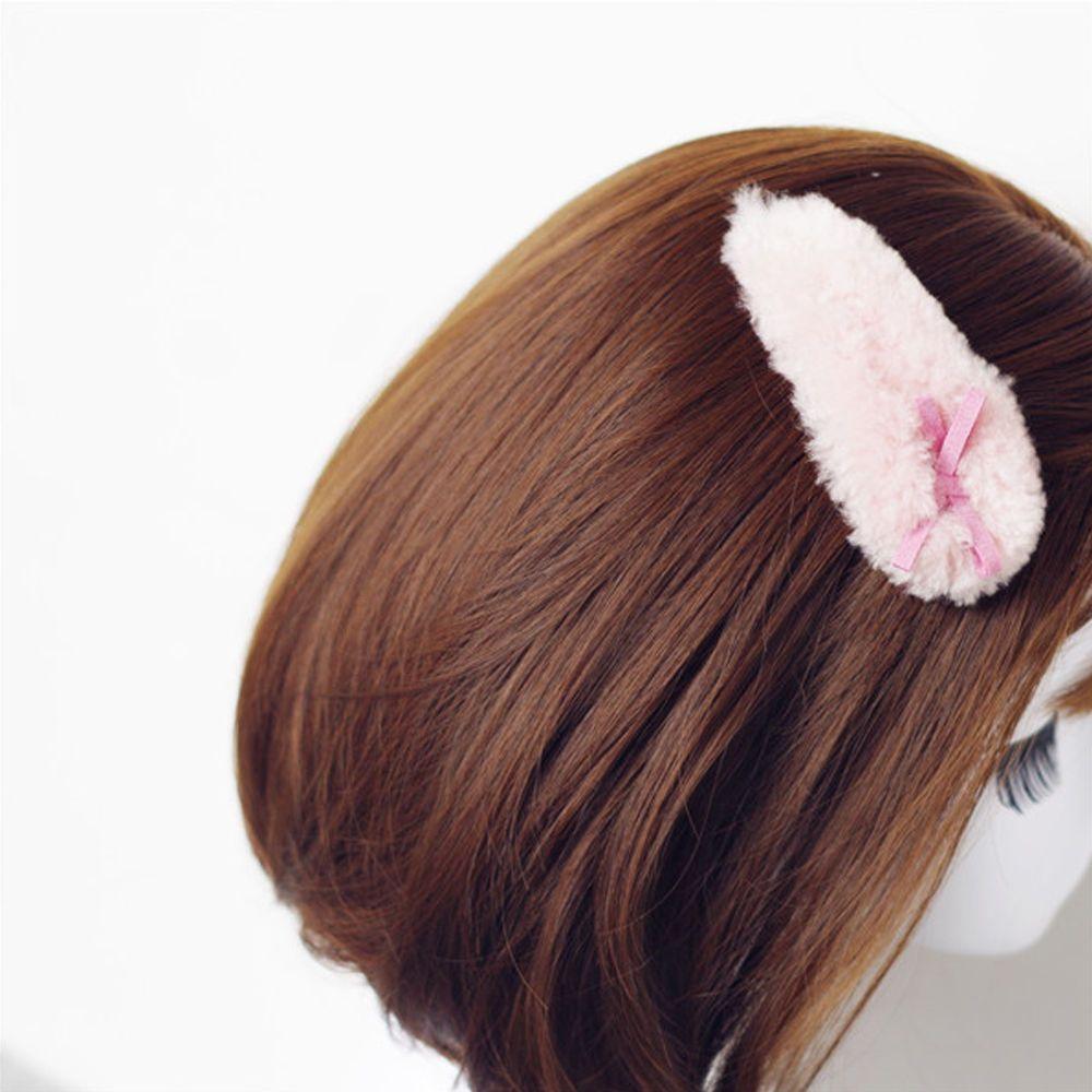 1Pc Plush Faux Rabbit Fur Lambswool Hair Clip Bobby Pins Bow Barrette Headwear
