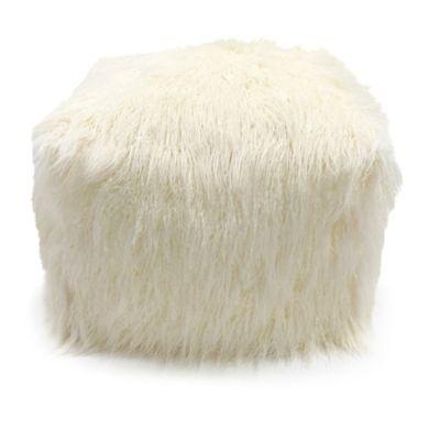 Lounge Co Faux Fur Pouf Ottoman In Cream Ottomans Fur And Free Magnificent Faux Fur Pouf Ottoman