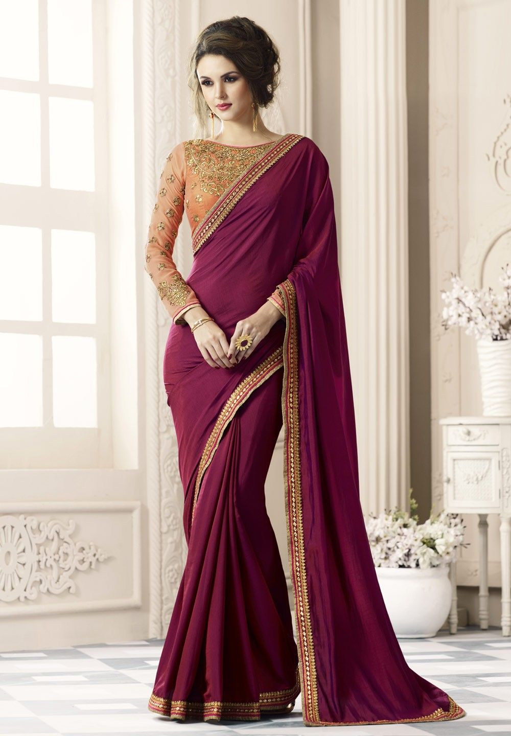 2f7c7bc94f1370 Beautiful wine red Silk saree for weddings