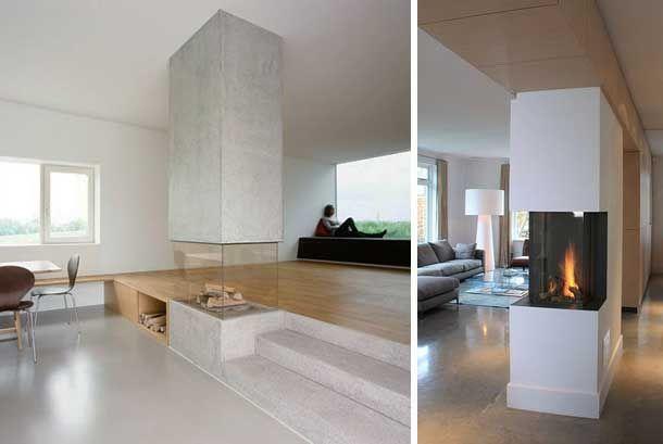 48 chimeneas modernas para la separaci n de espacios for Diseno de hogares a lena modernos