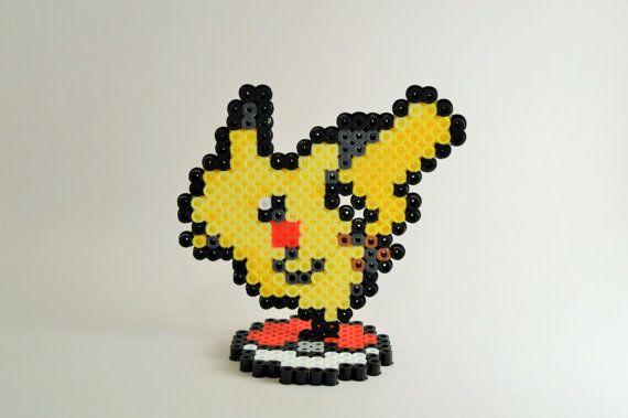 Pikachu Perler Sprite with Pokeball Stand // Pokemon Perler