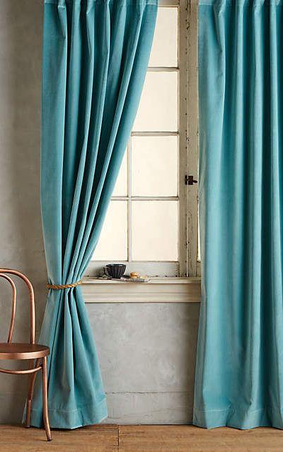 Matte Velvet Curtain · Farbe BlauWohnzimmerRund ...