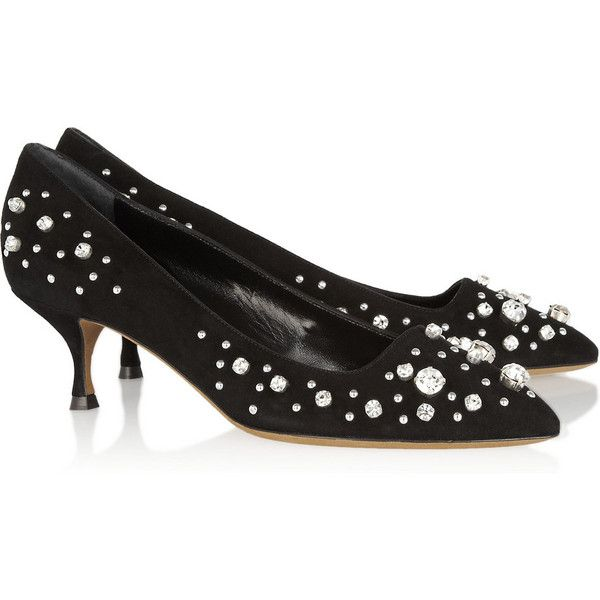 Moschino Cheap and Chic Crystal-embellished suede pumps ($390) ❤ liked on Polyvore