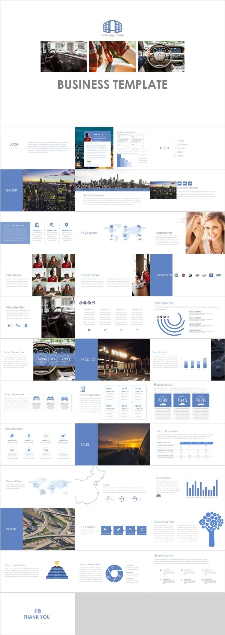 Blue business report design PowerPoint template