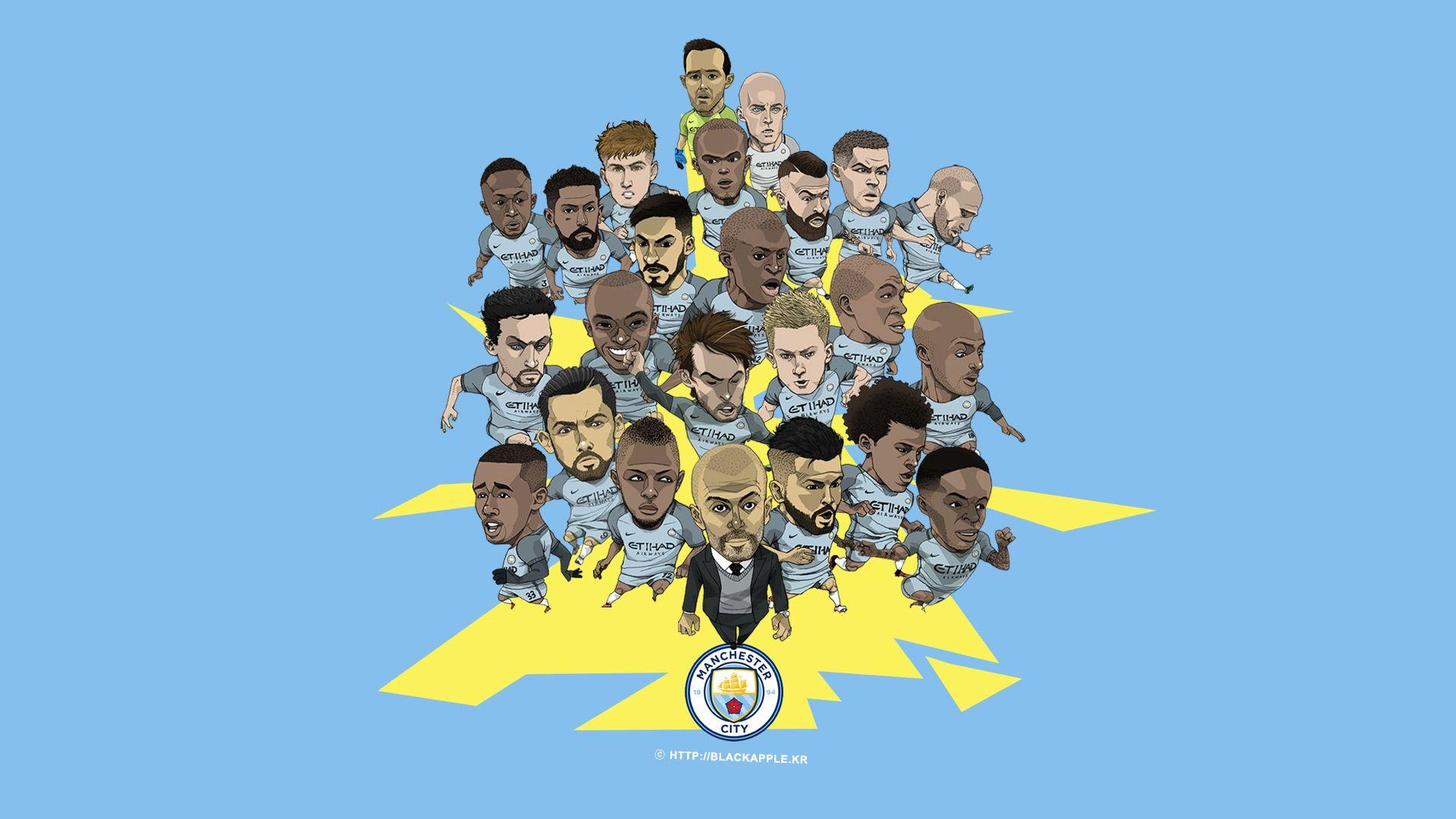 Manchester City Full Squad Fan Art for PC Wallpaper