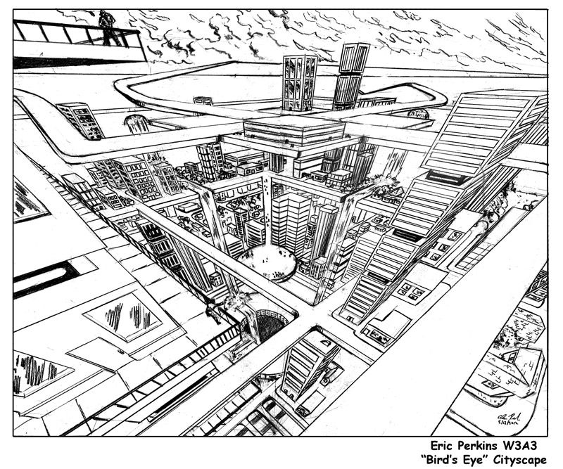 Cityscape in 3-Point Perspective. Bird's Eye View by battlereaper ...