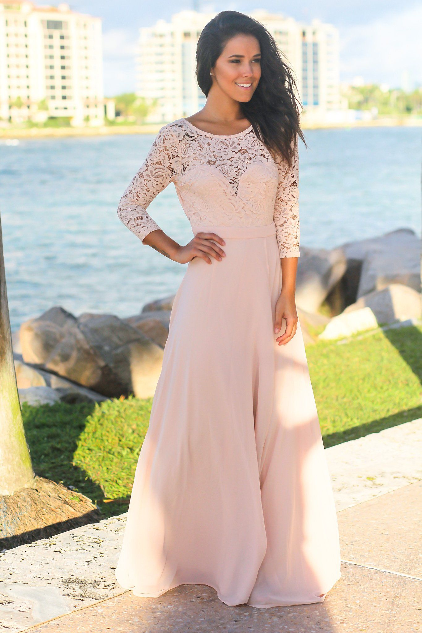 ed209d13af Blush Lace Maxi Dress with 3/4 Sleeves | Maxi Dresses – Saved by the Dress