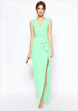Vestido menta, boda formal de día | Vestidos para eventos ...