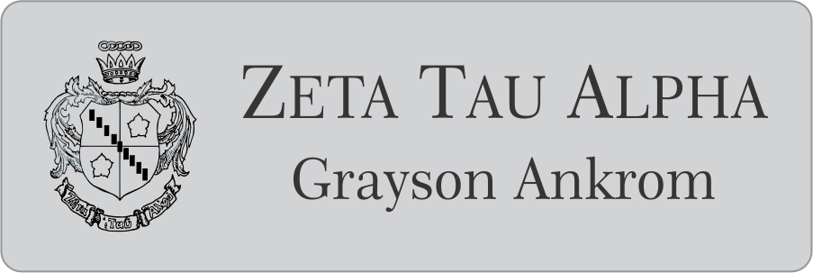 Zeta Tau Alpha Sorority Name Tags and Recruitment ID Name Badges for pledges, Zeta Tau Alpha Sorority events and Zeta Tau Alpha sorority sisters.