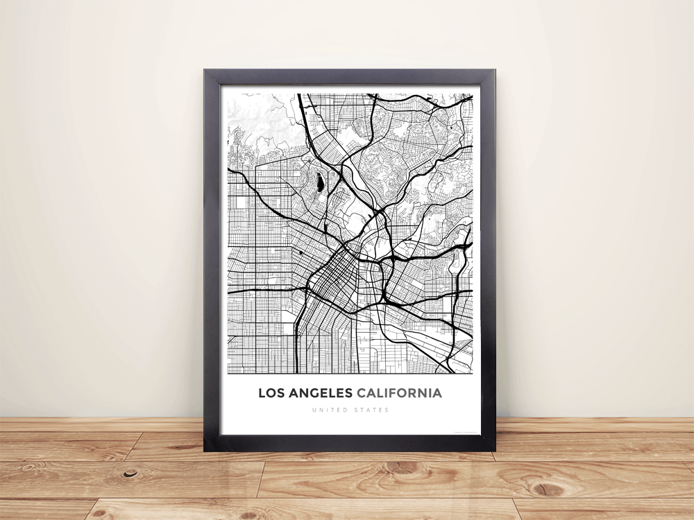 Framed Map Poster of Los Angeles California