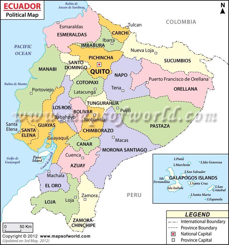 Mapa Político Ecuador Ecuador Map Political Map South America Map