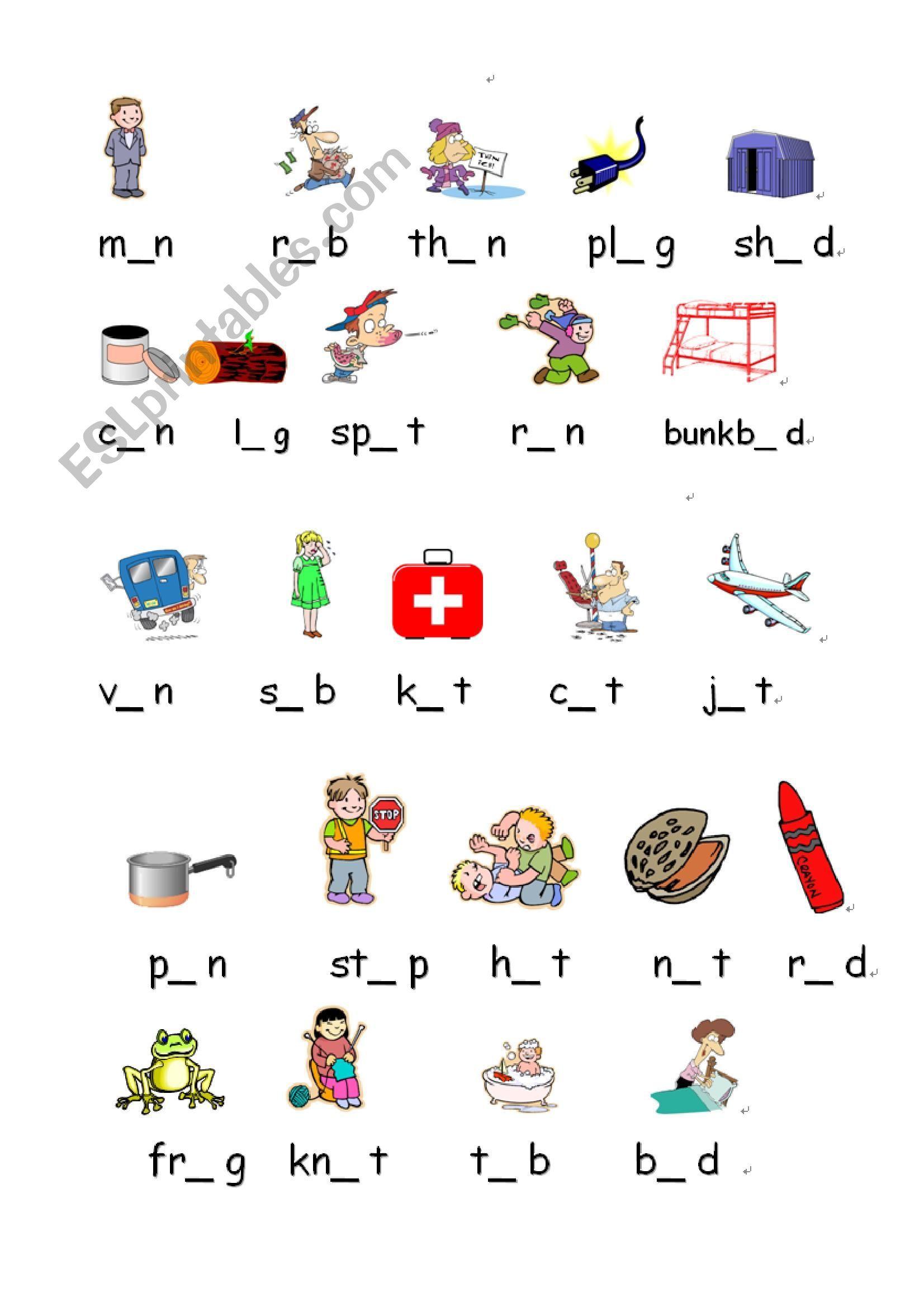 Short Vowels A E I O U