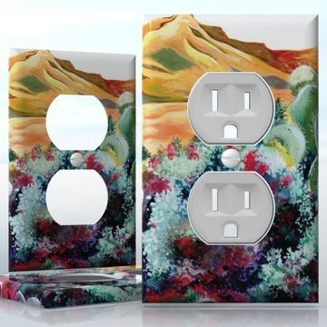 DIY Do It Yourself Home Decor - Easy to apply wall plate wraps | Blooming Desert A gold desert after rain wallplate skin sticker for 1 Gang Wall Socket Duplex Receptacle | On SALE now only $3.95
