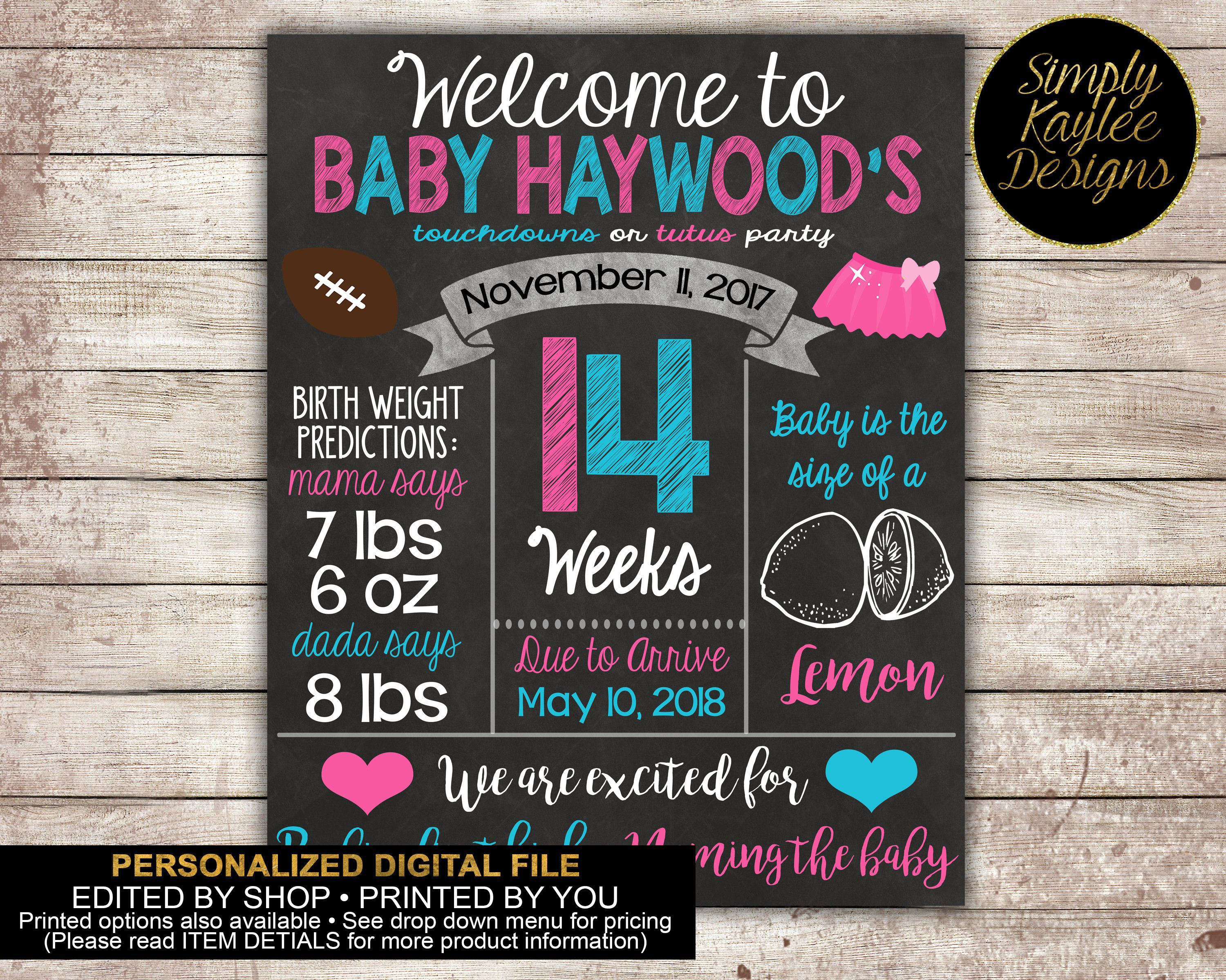 Touchdowns Or Tutus Gender Reveal Party Welcome Sign Etsy Tutus Gender Reveal Reveal Parties Gender Reveal Party