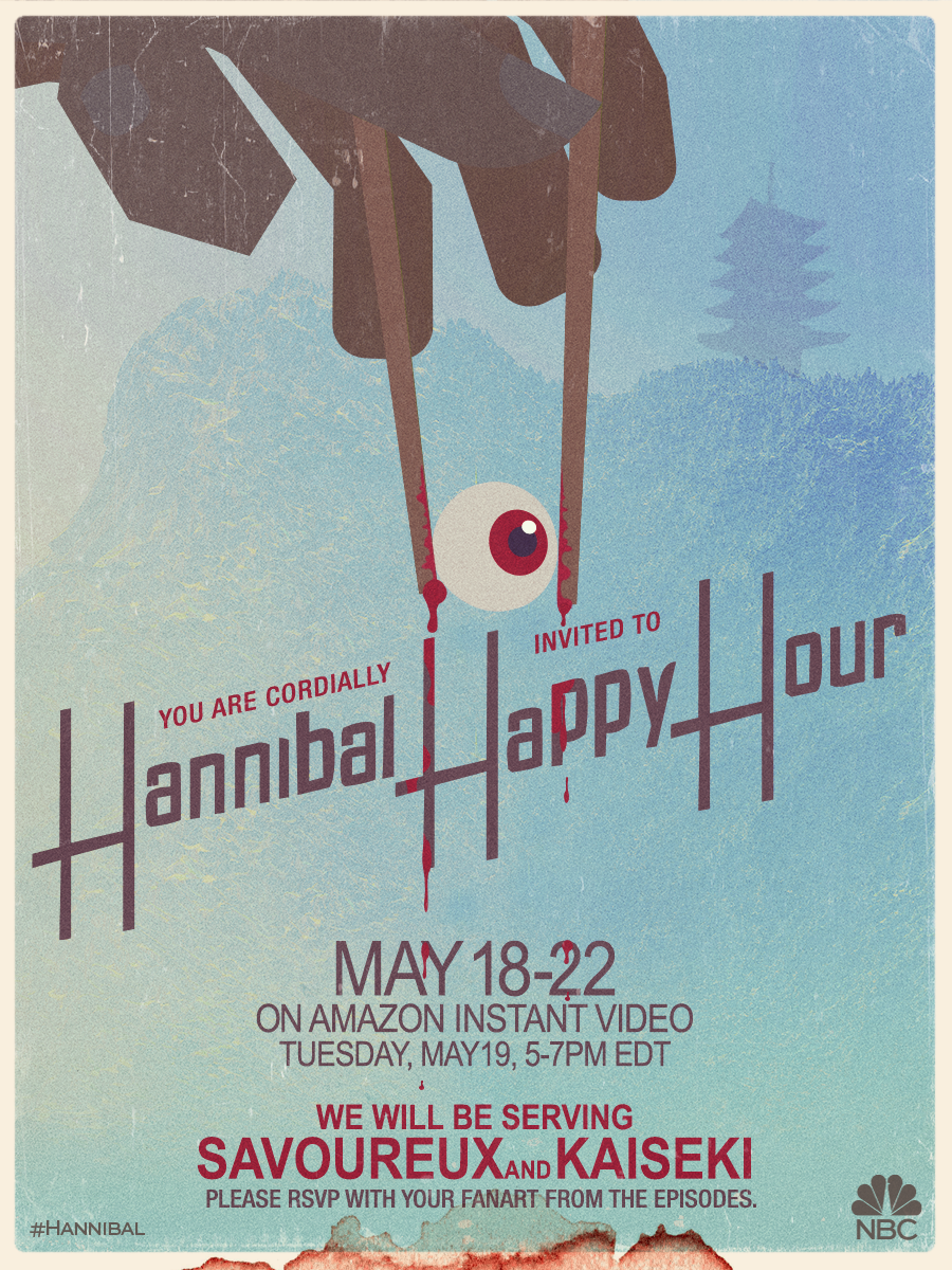 Join us and @AmazonVideo for #HannibalHappyHour the week of May 18-22. Presenting Tuesday's menu…