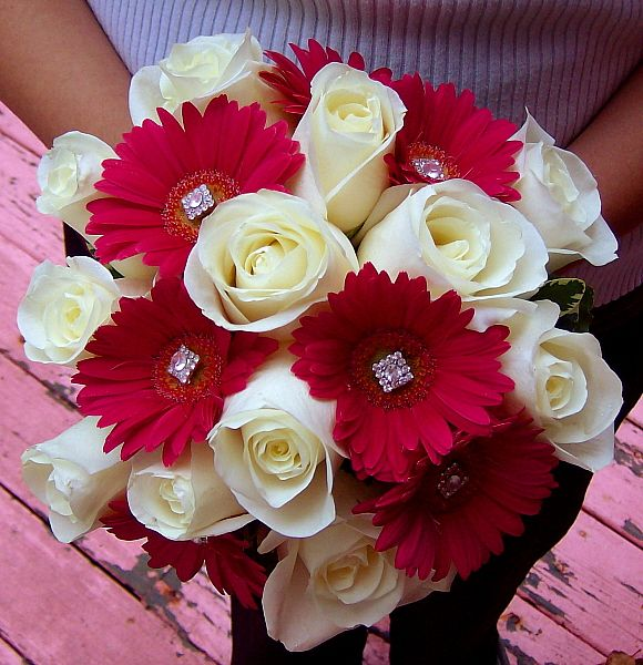 Ivory Roses And Pink Gerbera Daisy Bouquet With Gem Accents Pink