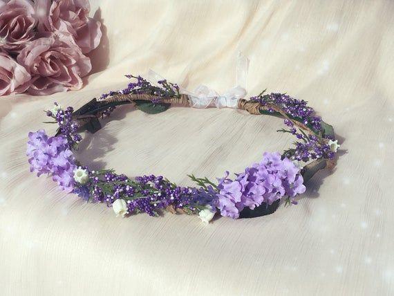 Handgemaakte lavendel hoofd krans lavendel bloem kroon paarse hoofdband bos wed …