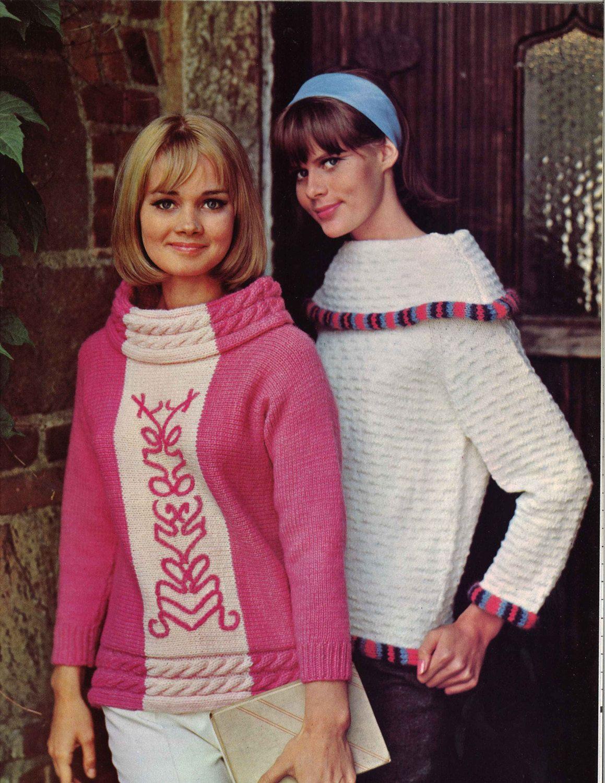 Pjnk & White • 1960s Pullover Shawl Collar Sweater Patterns • 60s ...
