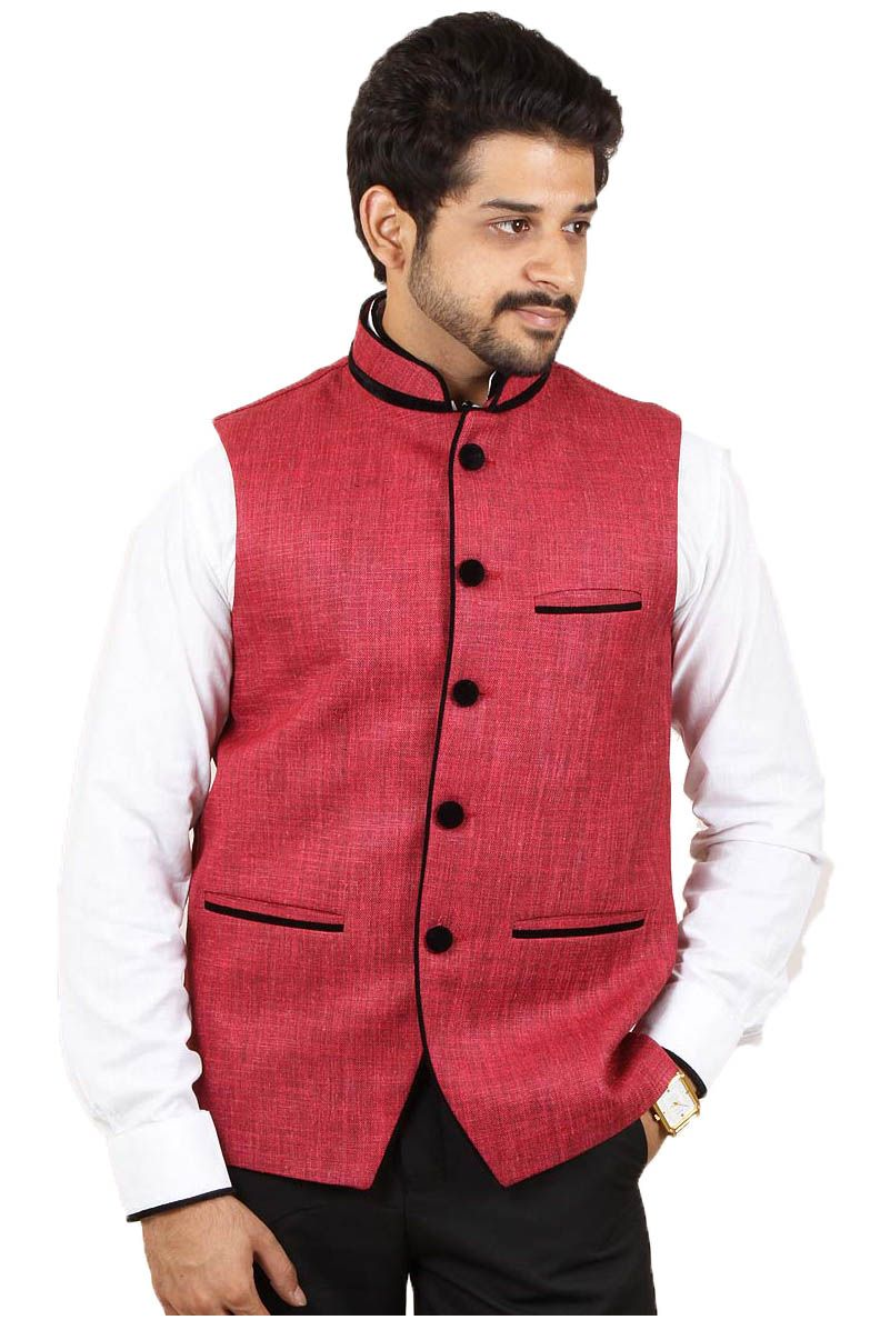 Buy Maroon Color Rai Sahab Modi Jacket For Men Online in India ...