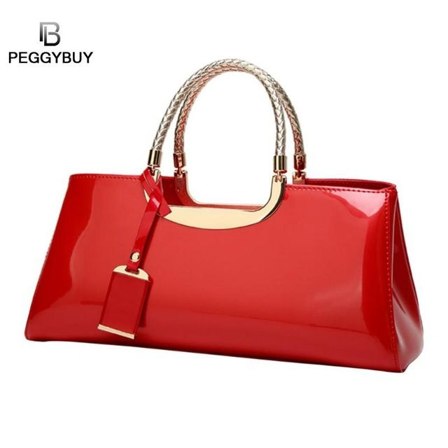 Glossy Patent Leather Women Clutch Shoulder Bags Banquet Evening Handbag Large Bag Shopping Totes Color Black