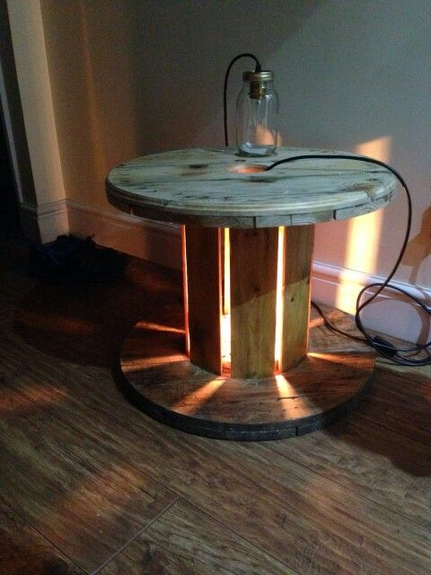 Cable drum table with center light cable drum uses for Wooden reel furniture