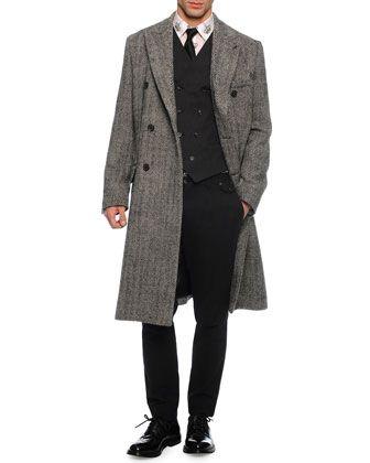 Herringbone Double-Breasted Overcoat, Double-Breasted Woven Vest, Crown-Print Sport Shirt, Tonal Herringbone Woven Trousers & Brocade-Print Silk Tie by Dolce & Gabbana at Neiman Marcus.
