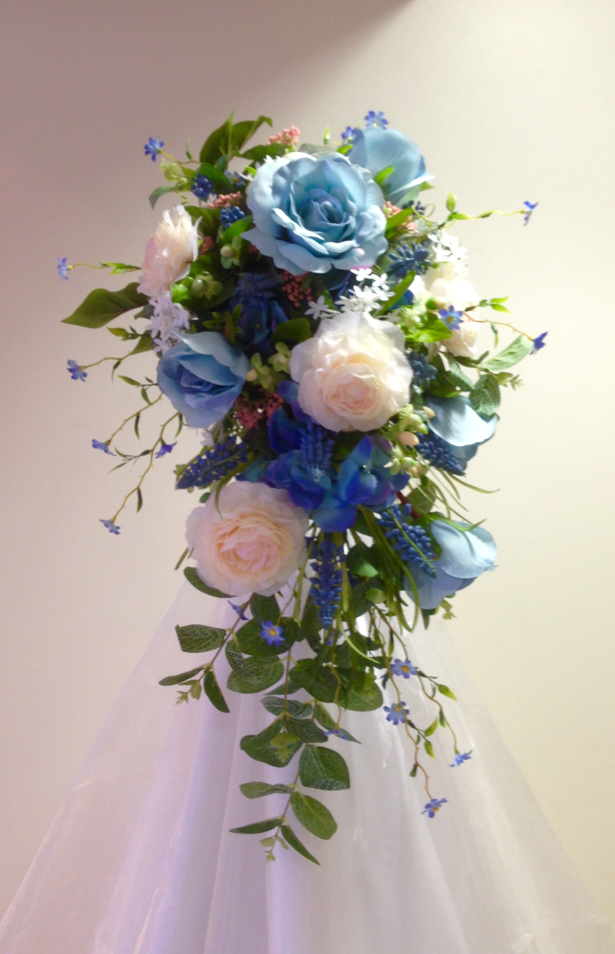 Blue And Peach Bridal Bouquet In Everlasting Flowers Roses