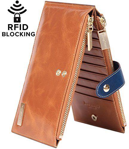 Borgasets RFID Blocking Women's Genuine Leather Zipper Wa…