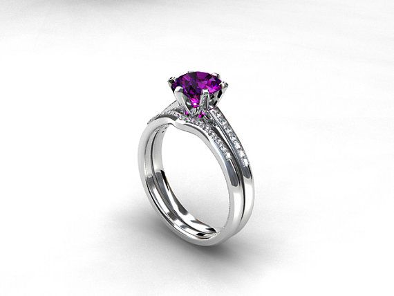 engagement ring set Amethyst ring Diamond by TorkkeliJewellery