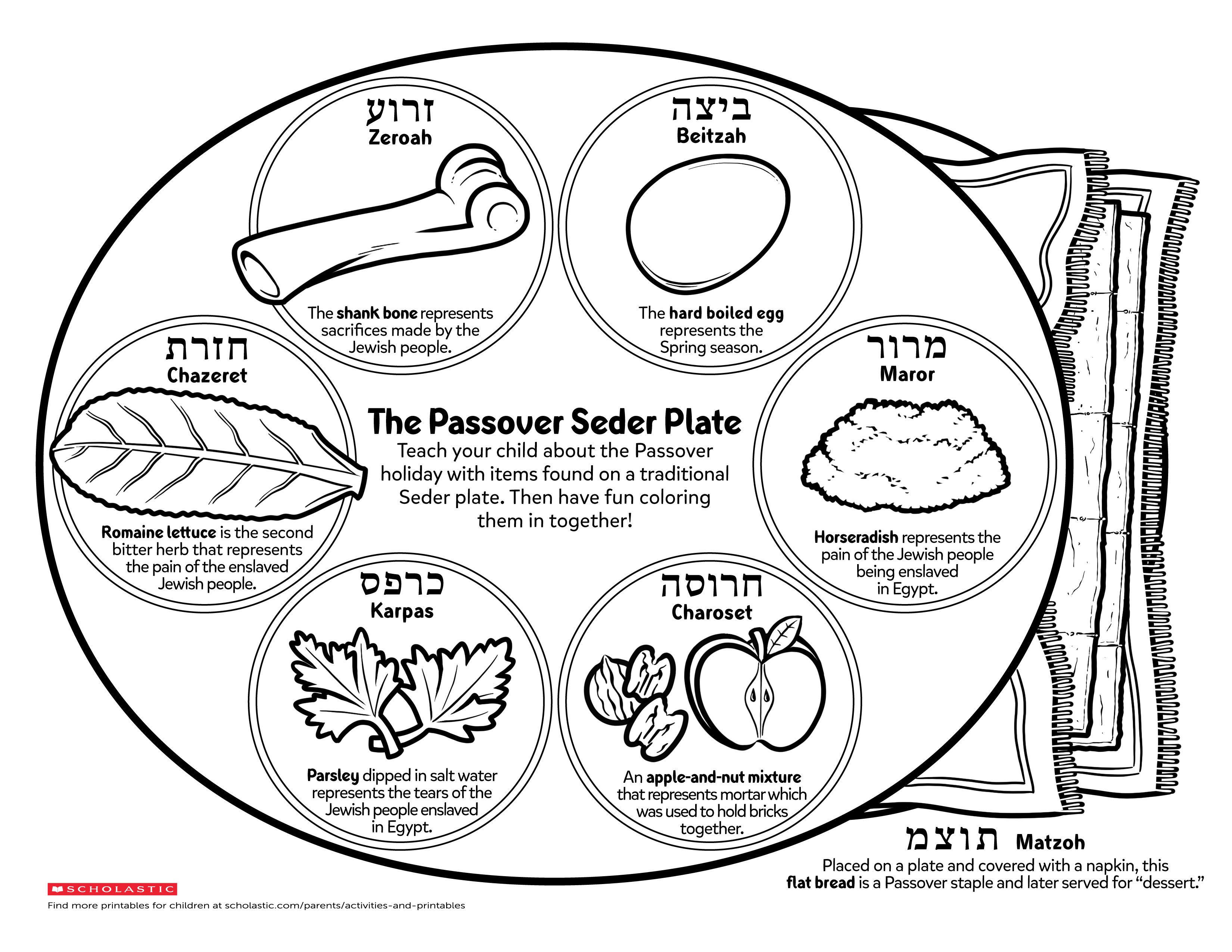 Teach Your Little One About The Jewish Holiday Passover By Coloring In This Traditional Seder Plate Together Passover Seder Plate Seder Plate Seder [ 2550 x 3300 Pixel ]