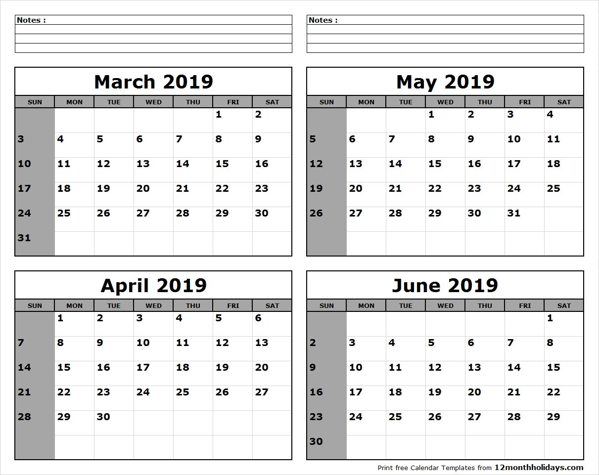 Print 4 Month Calendar June Calendar Printable Calendar Printables June 2019 Calendar