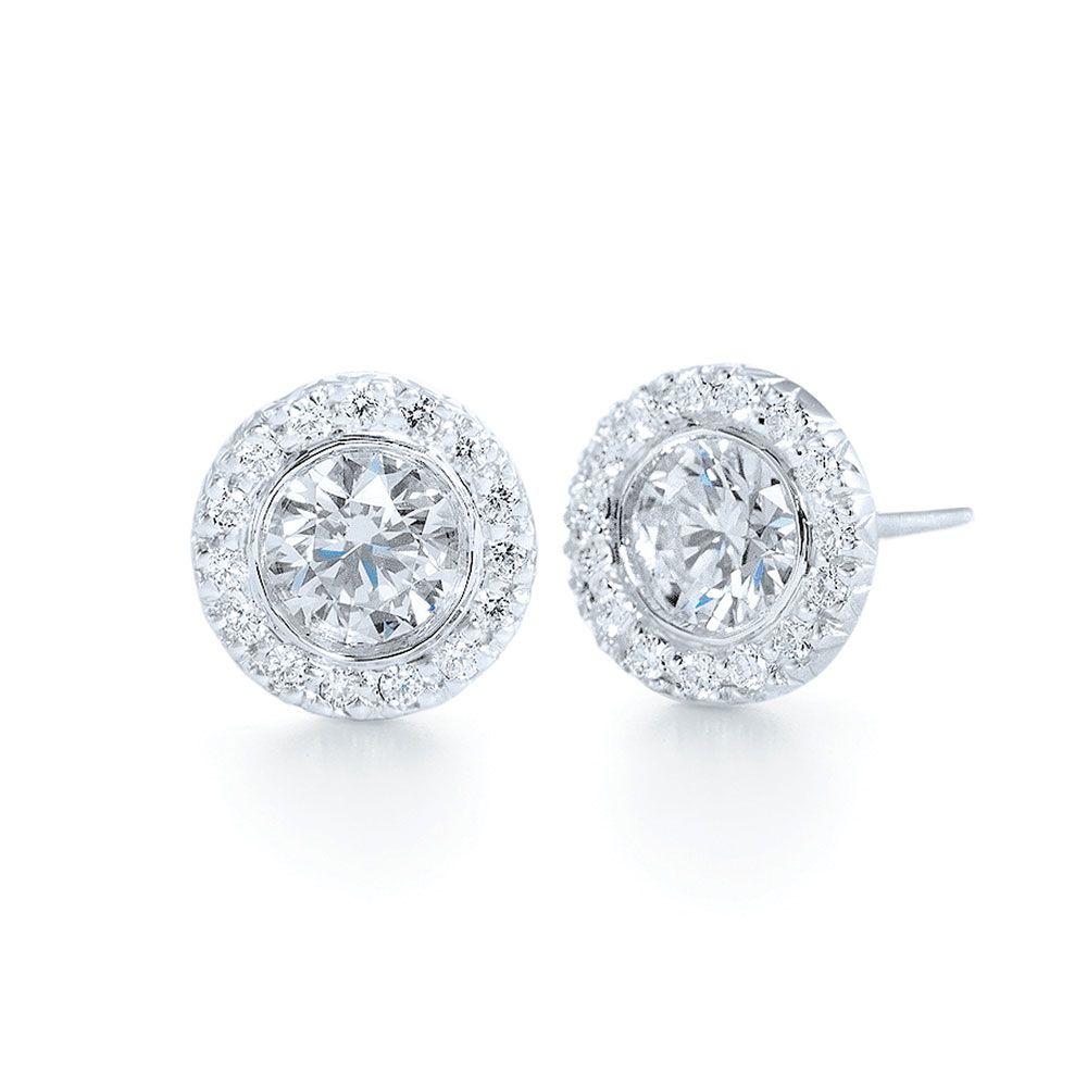 Diamond Jewelry  Round Diamond Silhouette Stud Earrings  Kwiat